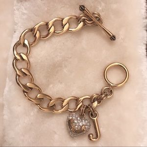 Juicy Couture Paved Heart & J Charm Gold Bracelet
